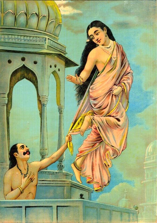 புருரவஸ் - ஊர்வசி - ராஜா ரவிவர்மா (விக்கி பீடியா)